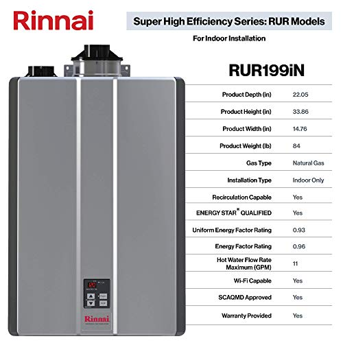 Rinnai RUR Series Review Sensei SE+ Tankless Hot Best Water Heater: Indoor Installation