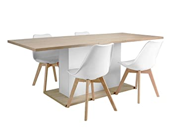 Miraculous Scandinavian Dining Set Extension Table 160 205Cm With Storage Function And Set Of 4 White Plastic Chairs Cjindustries Chair Design For Home Cjindustriesco