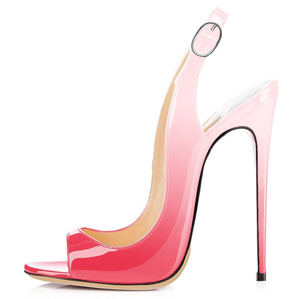 Gradient Pink UMEXI Open Toe Slingbacks Ankle Strap High Heels Stiletto Pumps Wedding Party shoes for Women