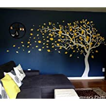PopDecors - Tree Blowing in the Wind (White & Yellow - 83inch H) - Custom Beautiful Tree Wall Decals for Kids Rooms Teen Girls Boys Wallpaper Murals Sticker Wall Stickers Nursery Decor Nursery Decals
