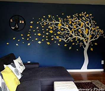 PopDecors   Tree Wall Decals Baby Room Decal Vinyl Wall Decal Wall  Sticker Blowing In