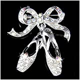 w Swarovski Crystal BALLET DANCER Dance BALLERINA Slippers Shoes Pin Brooch Xmas
