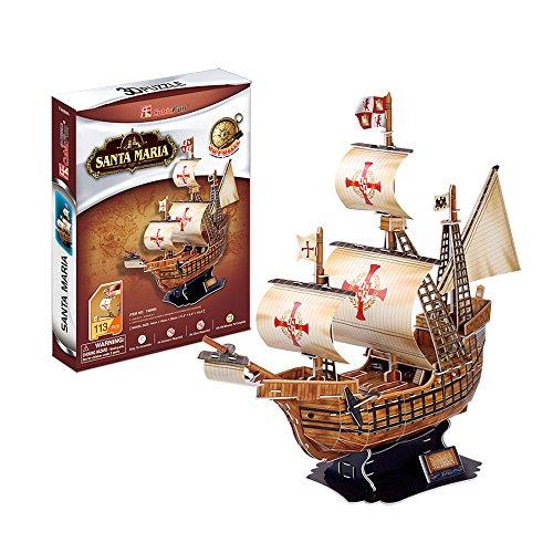 CubicFun T4008h Santa Maria Vessel Models 3D Puzzle, 113 Pieces Santa Maria Ship