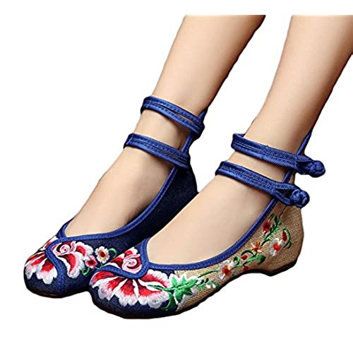 5187b28aa 80%OFF ezShe Floral Embroidered Flats Multicolor Ankle Strap Cheongsam Shoes