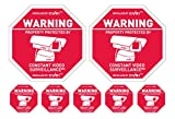 CCTV Security Camera Warning Signs & 6 matching surveillance camera warning stickers Weatherproof