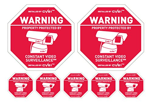 CCTV Security Camera Warning Signs & 6 matching surveillance camera warning stickers Weatherproof by PROPERTYGUARD