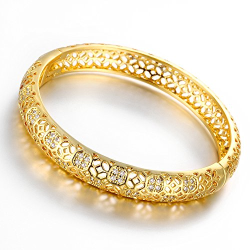 Dilanco 18K Gold Plated Multi-Gemstone Hollow Bangle Bracelets for Women