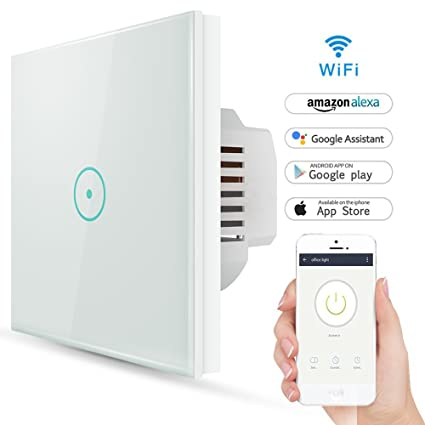 Wifi Interruptor Inteligente 1 Gang, Wireless Echo Interruptor remoto de luz de pared con Alexa
