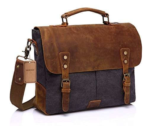 Vaschy Casual Genuine Leather Canvas messenger Bag Laptop Shoulder Bag Bookbag