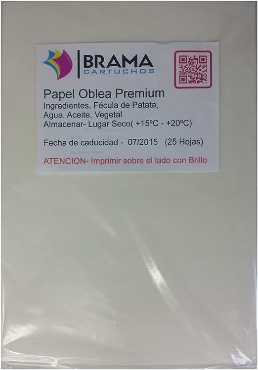 Bramacartuchos 25 Hojas Papel DE OBLEA Premium con UN Grosor DE ...