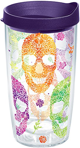 Tervis 1263318 Floral Skulls Insulated Tumbler with Wrap and Royal Purple Lid, 16oz, Clear ()