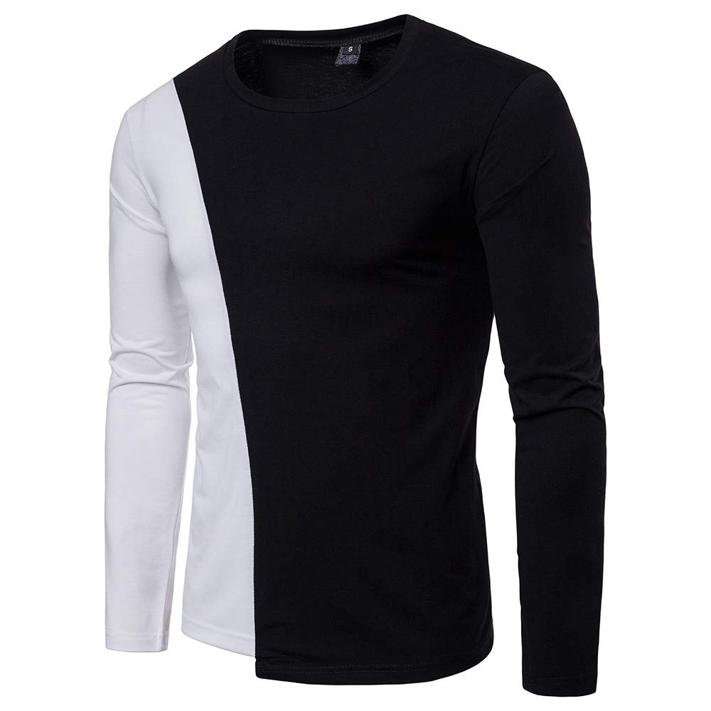 Simayixx Shirts for Men Long Sleeve, Standard-Fit Tee Sweatshirts Color Patchwork Pullover Sweaters Cotton Tops Blouses