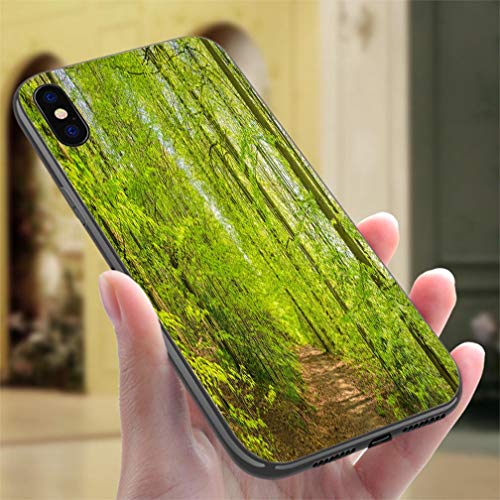 Creative iPhone Case for iPhone X/XS Leafy Track Through Vibrant Green Canopy Woodland Foliage Forest Panorama Resistance to Falling, Non-Slip,Soft,Convenient Protective Case