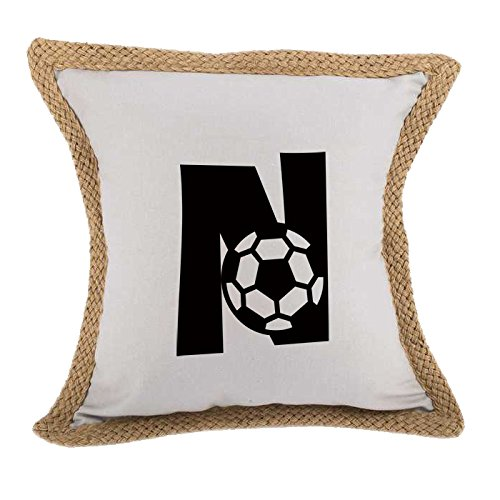 ''N '' Soccer Initial Monogram Letter N Bed Home Decor Faux Linen Pillow Cover Gray by Style in Print