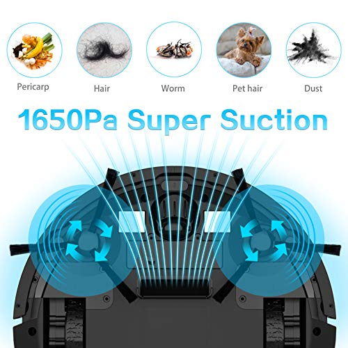 Robot Vacuum, 1800PA Robotic Vacuum Cleaner with Self-Charging, 360° Smart Sensor Protectio, Multiple Cleaning Modes Vacuum Best for Pet Hairs