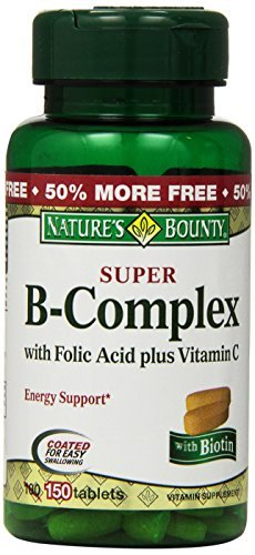 Nature's Bounty Super B-complex with Folic Acid Plus Vitamin C, 150-Count (Pack of 4 (150 ct ea)) by Nature's Bounty