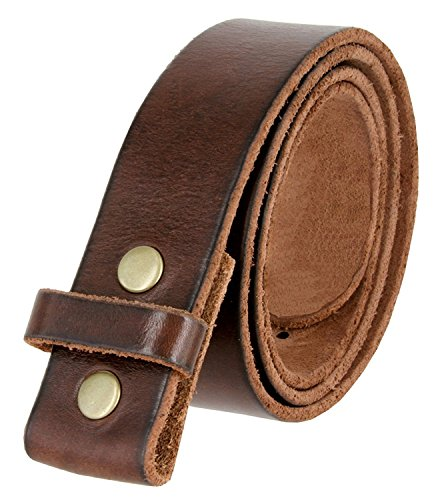 Leather Interchangeable Buckle - BS001 Vintage Genuine Leather Belt Strap Without Slot Hole 1.5