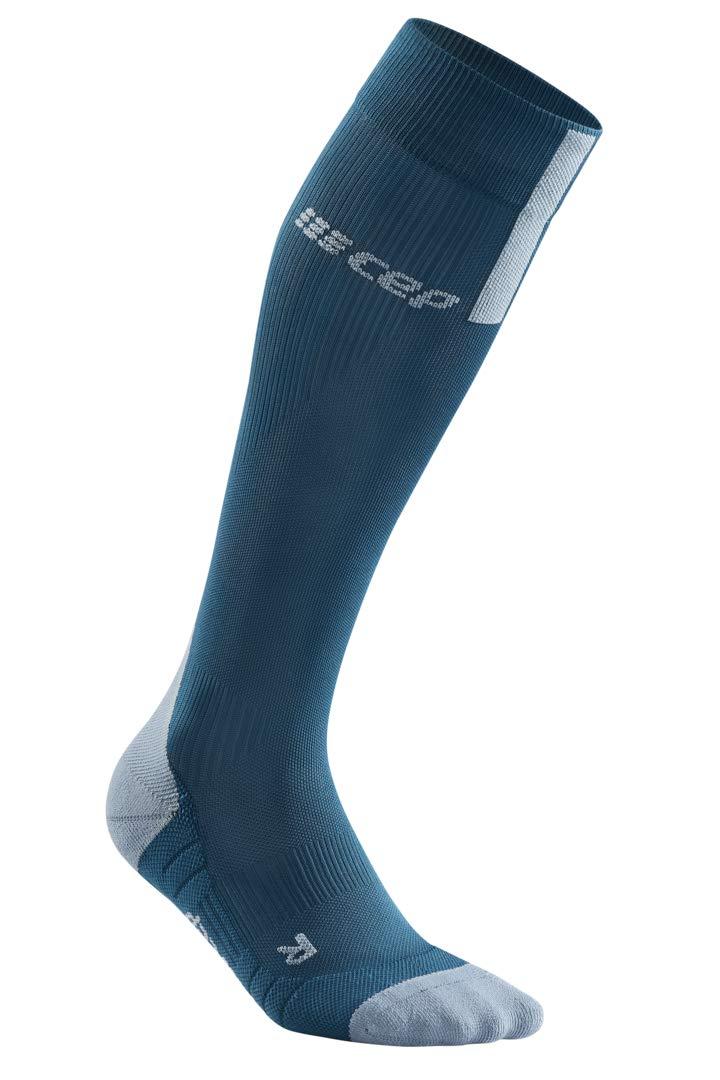 CEP Men's Compression Run Socks Tall Socks 3.0, Blue/Grey III