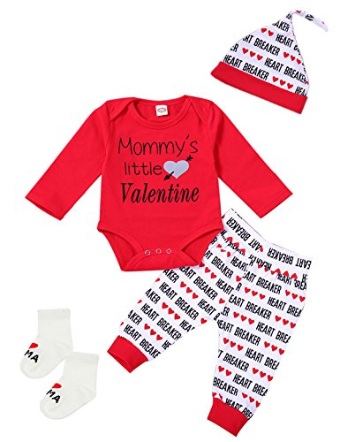 Infant Valentine Outfits (Giwawa 4Pcs Outfit Set Baby Boy Mommy's Little Valentine Romper With Sock (3-6 Months, Red))