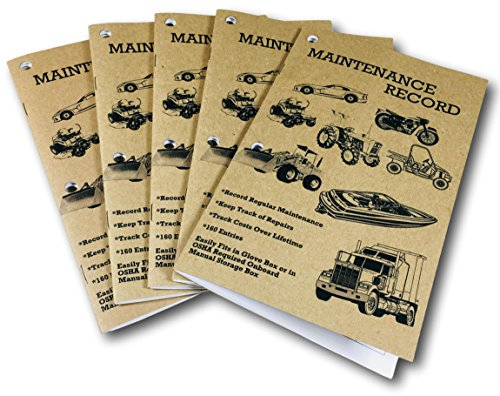 Peaceful Creek Manuals Maintenance Record, Service Repair Log Book, 5pk.: Automotive, Recreational Vehicle, Construction Equipment, Tractor, Truck, Boat, Auto, OSHA Approved (5)