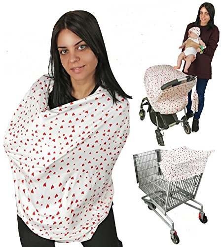Nursing Cover Breastfeeding Cover Baby Scarf, Multi use-Stroller Canopy, Shopping Cart, Swaddle, Hi-Chair. Soft Breathable Washable Boy or Girl (Red Hearts)