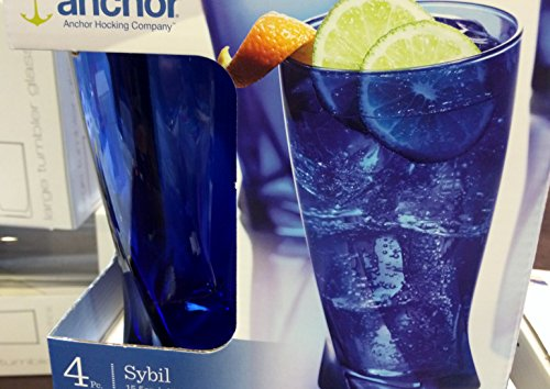 Anchor Hocking Sybil Cobalt Glass 15.5 Ounce Cooler Glass, Set of 4 (Milk Anchor Hocking)