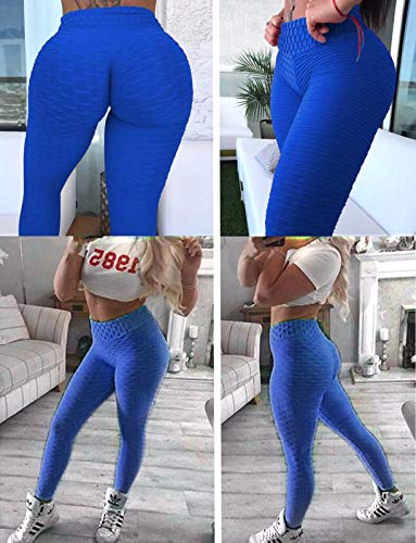 3b5f809301 Fittoo Women's Honeycomb Ruched Butt Lifting High Waist Yoga Pants Chic  Sports Stretchy Leggings Blue(