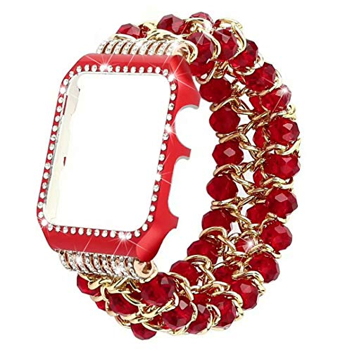 38mm apple watch band, Lybauri Fashion crystal beaded curtain strap + aluminum alloy diamond cover for Apple Watch Series 3/2/1 (Red)