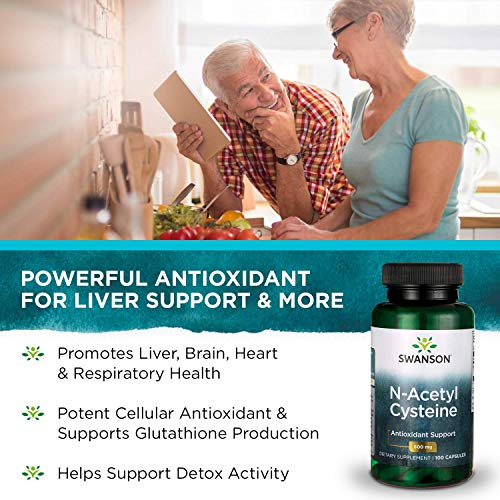 51miV4puEfL - Swanson NAC N-Acetyl Cysteine Antioxidant Anti-Aging Liver Support & Amino Acids Supplement 600 mg 100 Capsules (3 Pack)
