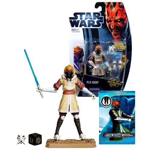 Star Wars Clone Wars Plo Koon Lightsaber (Hasbro Year 2012 Star Wars The Clone Wars Galactic Battle Game Series 4 Inch Tall Action Figure - CW6 PLO KOON with Blue Lightsaber, Cold Weather Gear, Battle Game Card, Die and Figure Display Base)