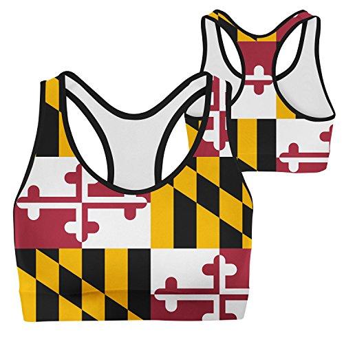 Flag Of Maryland Big Girls Seamless Criss Cross Racerback Sports Bra
