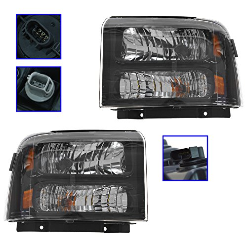 Headlights Headlamps Pair Set for 05-07 Ford Super Duty Harley Davidson