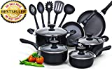 New! Cook N Home 15 Piece Non Stick Black Soft Handle Cookware Set Kitchen