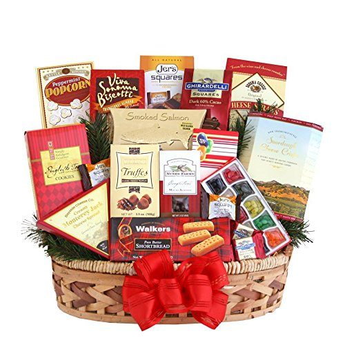 Reindeer Games Christmas Gift Basket | Smoked Salmon, Cheese, Candy, Chocolate and More (Food Hamper Delivery)