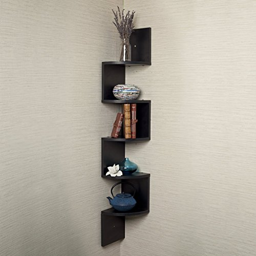 Houseables Corner Wall Book Shelf, 5 Tier, Black, Floating Side Zig Zag  Bookshelf, 7.75 x 7.75 x 48.5