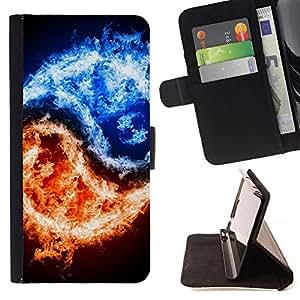 Momo Phone Case / Flip Funda de Cuero Case Cover - Símbolo Negro Yang Hielo Fuego Simbólico - LG Nexus 5 D820 D821