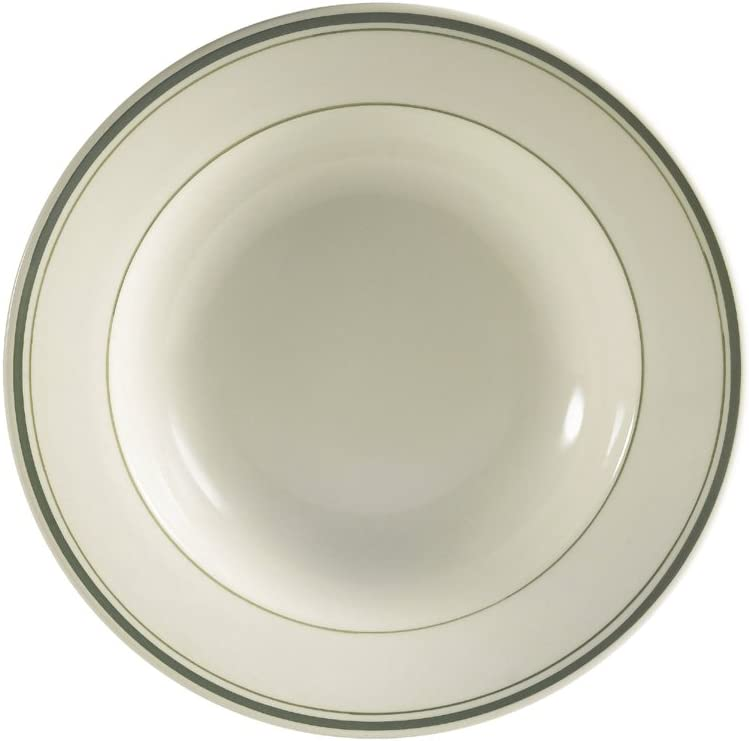 Box of 12 CAC China GS-125 12-3//4-Inch Greenbrier Green Band Stoneware Pasta Bowl American White 30-Ounce