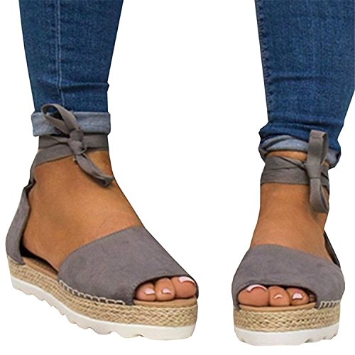 33064250259 Syktkmx Womens Espadrille Sandals Flat Platform Lace up Suede Strappy Cap  Toe Ankle Strap Summer Dress Shoes - Buy Online in Oman.
