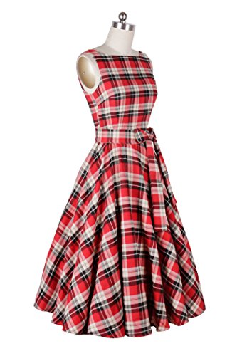 Cocktail Dresses Sleeveless Cliont Red Womens Party Swing Vintage Retro OIHPw6
