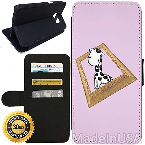 Flip Wallet Case for Galaxy S7 (Cute Giraffe Photo Frame) with Adjustable Stand and 3 Card Holders | Shock Protection | Lightweight | Includes Stylus Pen by - Glasses Walmart Frames Canada