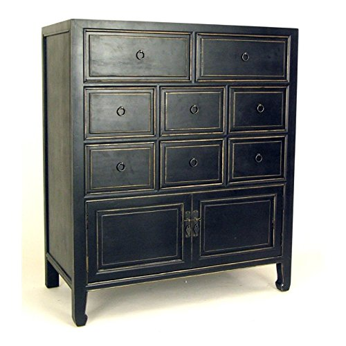Wayborn Home Furnishing Lynne 8 Drawer Chest, Black (Small Apothecary Chest)