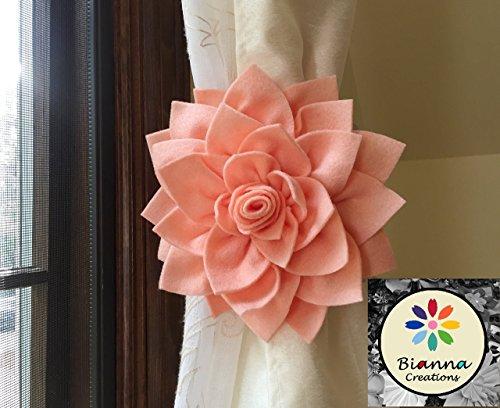 Bianna Creations ONE Dahlia Curtain Tieback, Flower Holdback, Spring Accent Hold back, Floral Home Decor, Nursery Decoration … (Peach)