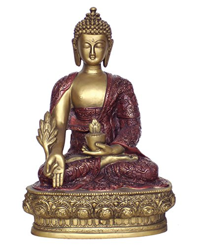 Medicine Buddha Statue, Gold and Red, 12