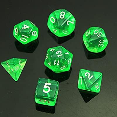 YSTD® 7 Sided Die D4 D6 D8 D10 D12 D20 MTG RPG D&D DND Poly Dices Board Game Chess Green