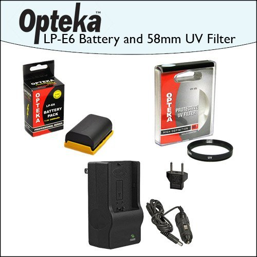 2 Pack of Opteka Canon Replacement LP-E6 LPE6 2400mAh (4800mAh Total) Ultra High Capacity Li-ion Battery Pack & Rapid Charger with Opteka 58mm High Definition II UV (0) Ultra Violet Haze Multi-Coated Glass Filter for Canon EOS 5D Mark 2 3 II III 5DM2 5DM3 6D 7D 60D 60Da 70D DSLR Digital Camera