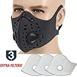 #6: MoHo Dust Mask, Upgrade Version Activated Carbon Dustproof Mask Windproof Foggy Haze Anti-Dust Mask Motorcycle Bicycle Cycling Ski Half Face Mask for Outdoor Activities