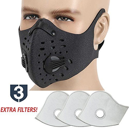 MoHo Dust Mask, Upgrade Version Activated Carbon Dustproof Mask Windproof Foggy Haze Anti-Dust Mask Motorcycle Bicycle Cycling Ski Half Face Mask Outdoor Activities