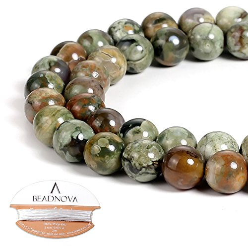 - BEADNOVA Natural Kambaba Jasper Beads Natural Crystal Beads Stone Gemstone Round Loose Energy Healing Beads with Free Crystal Stretch Cord for Jewelry Making (8mm, 45-48pcs)