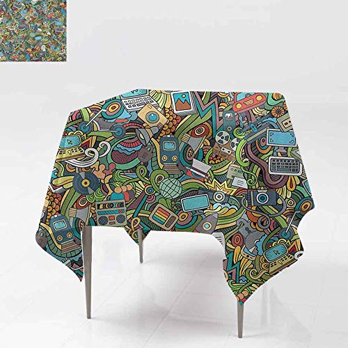 (AndyTours Washable Square Tablecloth,Doodle,A Variety of Social Media Devices Drawn Abstract Manner Computer Photos Smartphone,Party Decorations Table Cover Cloth,54x54 Inch)