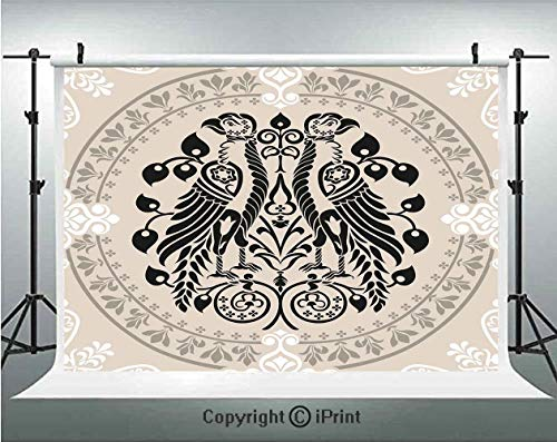 Vintage Photography Backdrops Ethnic Heraldic Eagle Birds with Damask Floral Figures Victorian Retro Design,Birthday Party Background Customized Microfiber Photo Studio Props,5x3ft,Tan Black White
